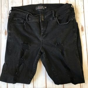 TORRID High Rise Distress Black Jeans 20R